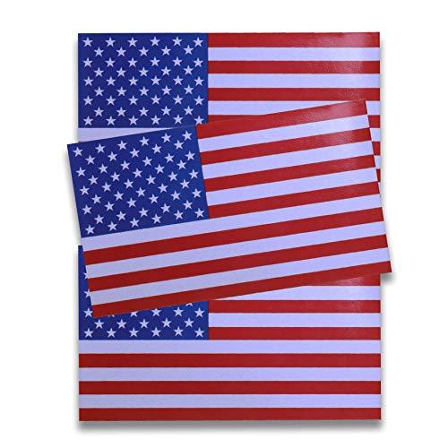 JUSTTOP 5x3 American Flag Patriotic Stars and Reflective Stripes Auto Decal Bumper Sticker(3 PCS)