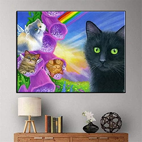 Diamond Painting Kits Full Drill Rainbow Cat'S World,DIY 5D Diamond Painting by Numbers Kits Crystal Large Embroidery Cross Stitch Art Crafts for Living bedroom Wall Decor Round Drill,50x70cm(20x28in)