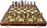 Modfash Chess - Juego de mesa de figuras romanas de ajedrez de latón plegable de 35,5 cm, ideal para regalo, decoración del hogar y jugar