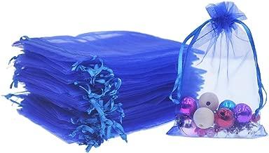 100Pcs KINGWEDDING 3x4 8x10cm Royal Blue Organza Drawstring Strong Candy Jewelry Pouch Gift Bag for Party Wedding Favor