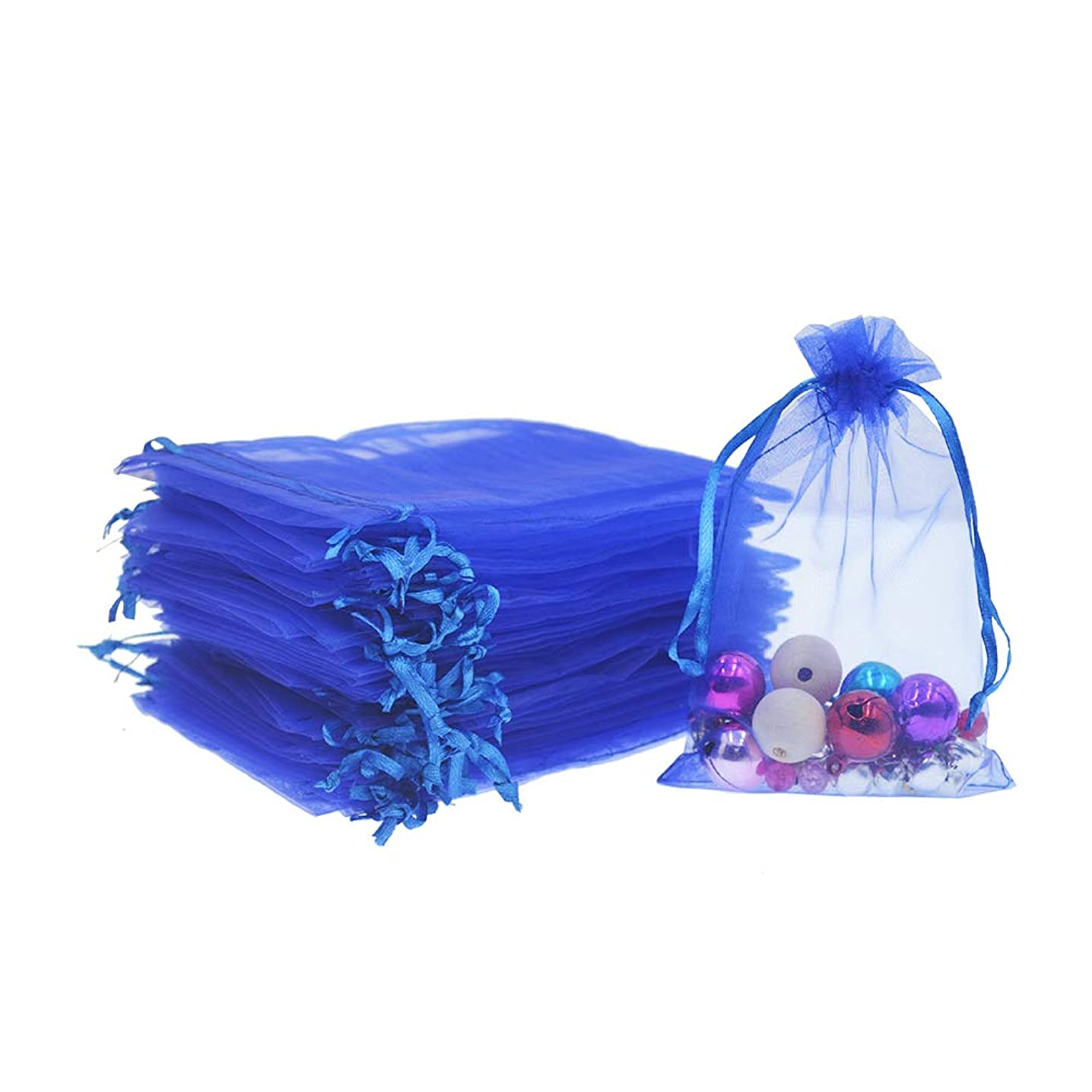 Lautechco 100Pcs Organza Bags 3.5x4.5 inches Royal Blue Organza Gift Bags Small Mesh Bags Drawstring Gift Bags Christmas Drawstring Organza Gift Bags (3.5x4.5 inches Royal Blue)