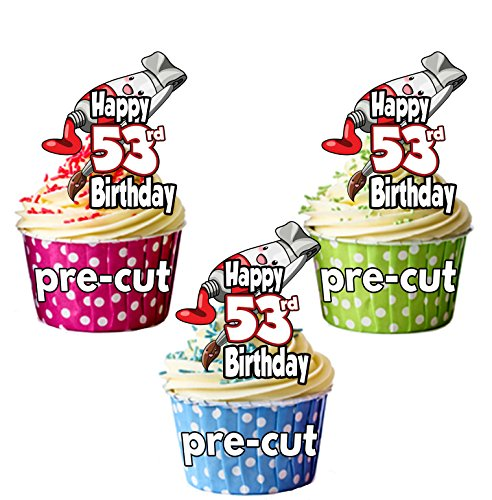 PRECUT verf & penseel kunst en ambacht thema - 53e verjaardag - eetbare cupcake toppers/taart decoraties (Pack van 12)