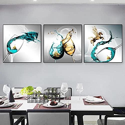 HXLZGFV Divertida Copa de Vino Azul velero Arte Lienzo Pintura Carteles e Impresiones Cuadros de Pared Sala de Estar Cocina decoración del hogar | 50x50cmx3 | sin Marco