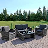 New <span class='highlight'>Rattan</span> Wicker Weave <span class='highlight'>Garden</span> Furniture Patio <span class='highlight'>Conservatory</span> 2 or 3 <span class='highlight'>Seater</span> Sofa Sets (Mix Grey with Dark Cushions, Algarve 2 1 1) INCLUDES OUTDOOR WATERPROOF PROTECTIVE COVER