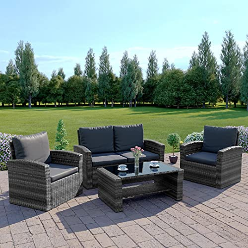 New Rattan Wicker Weave Garden Furniture Patio Conservatory 2 or 3 Seater Sofa Sets (Mix Grey with Dark Cushions, Algarve 2+1+1) INCLUDES OUTDOOR WATERPROOF PROTECTIVE COVER