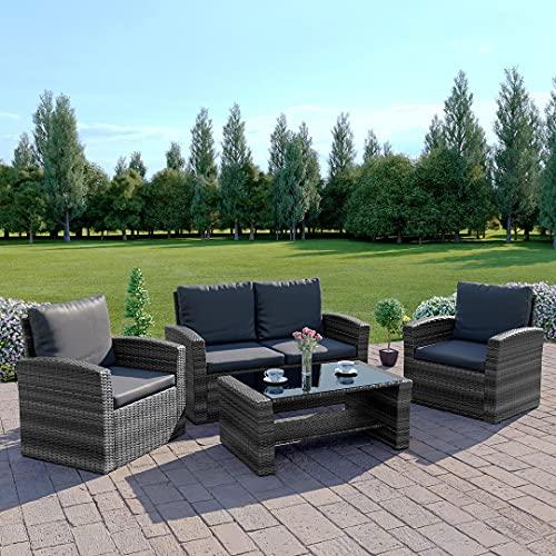 Abreo Mixed Grey Rattan Weave Sofa Set Garden Furniture Conservatory Light/Dark Cushions (Dark Mixed Grey with Dark...