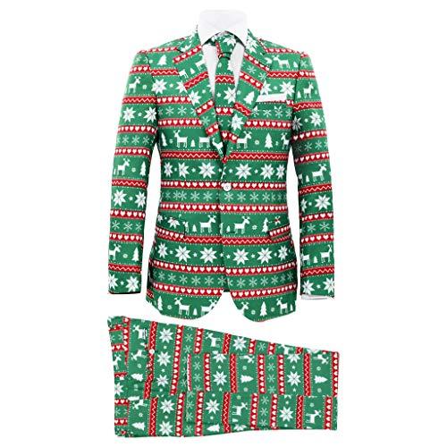 vidaXL 2 pcs fato de Natal c/ gravata para homem tam. 48 verde festivo