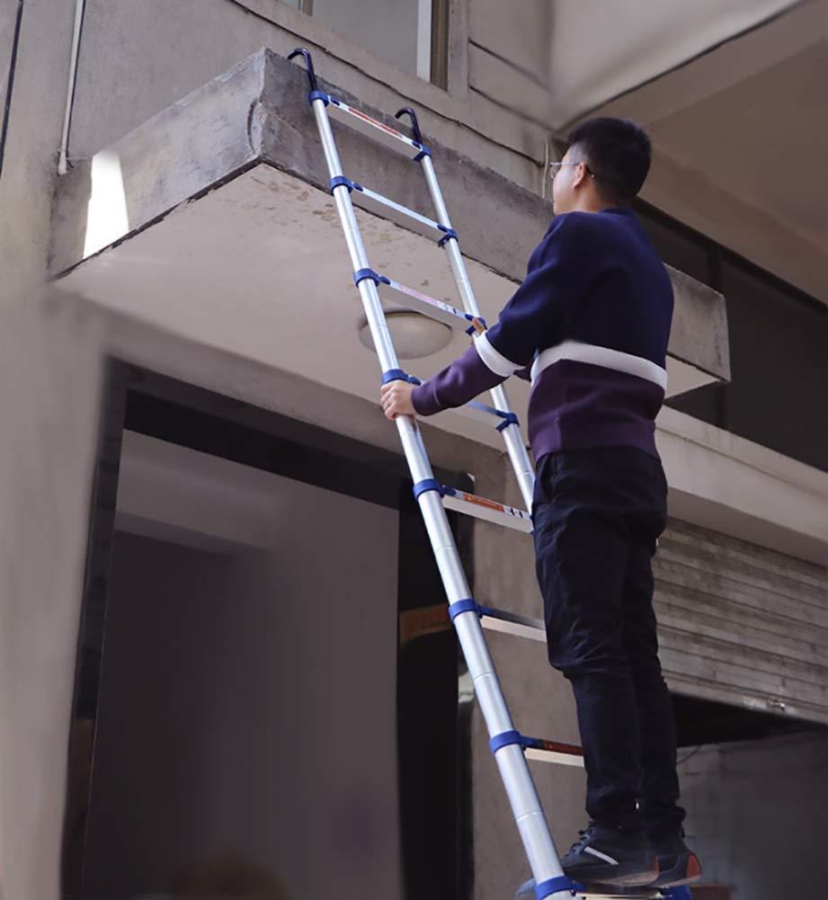 XQY Escaleras Telescópicas, Escalera Telescópica Plegable de Aluminio con Ganchos, Escalera Extensible Multipropósito Azul para Loft de Ingeniería, Capacidad de 330 Lb,2 M / 6.6 Pies: Amazon.es: Bricolaje y herramientas