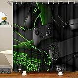 Video Games Shower Curtain,Boys Gaming Gamer Gamepad Shower Curtains,Mouse Keyboard Headset Design Bath Curtain Fashion Bathroom Waterproof Shower Curtain,Black Green 72' W x 72' L