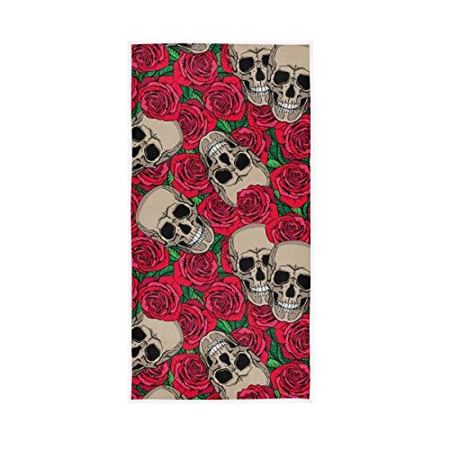 UMIRIKO Toallas de mano góticas con diseño de calavera rosa de secado rápido para el baño 30 x 15 pulgadas 2020954