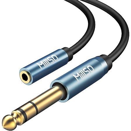 6.35mm 3.5mm変換アダプター 変換プラグ MillSO ステレオミニプラグ(メス)⇒ステレオ標準プラグ(オス) 6.35mmフォンプラグ アンプヘッドホン変換ケーブル 標準プラグ ミニプラグ 変換 金メッキ(30CM)