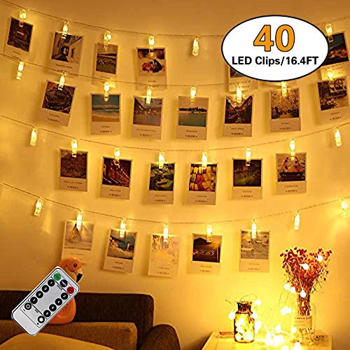 Kimfoxes Dimmable Waterproof 40 LED Photo Clips String Lights, 8 Lighting Modes, String Lights for Indoor/Outdoor Decorate,Fairy Lights for Hanging Pictures,Cards and Artwork (16.4 Ft, Warm White)