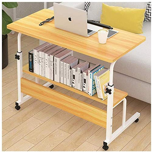 REWD Workstation Desk Faltbarer Computertisch Verstellbarer tragbarer Laptop-Schreibtisch Drehbarer Laptop-Betttisch Kann angehoben Werden Stehpult (Farbe: Walnuss)