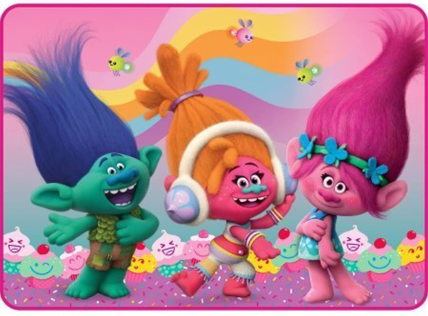 Cute, Adorable DreamWorks Trolls Flowing Rainbow 30  x 46  Accent Rug, Pink