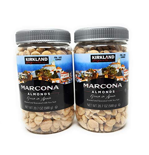 Kirkland eSybYD Marcona Almonds, Roasted and Seasoned with Sea Salt, 20.7 Ounce (2 Pack)