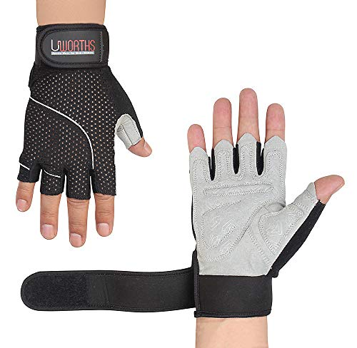 Weight Lifting Gloves Premium Full Grips Extra Protection Mens & Womens Ideal for Cycling, Gym Training Pull Ups & Home Use with Short Wraps Fingerless (Large)