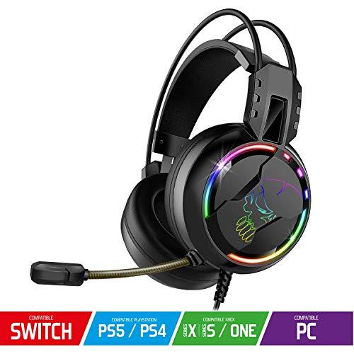 SPIRIT OF GAMER - PRO-H7 - Pro Gamer Audio Headset - Kunstleder - Flexibles Mikrofon - Regenbogen LED Hintergrundbeleuchtung - Multiplattform PS5 / XBOX X / PC / PS4 / XBOX ONE / Switch