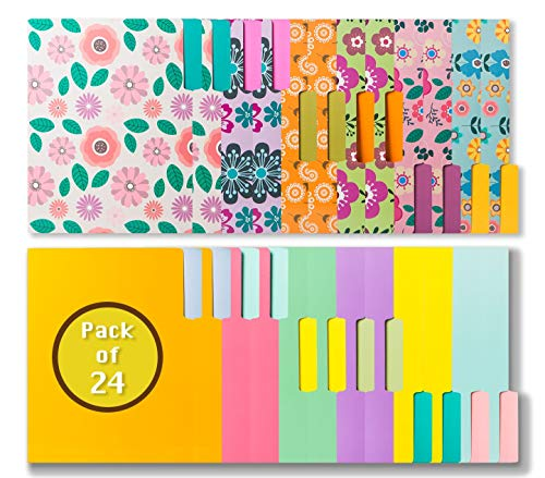24 Colored File Folders - Floral & Solid Colors File Folders In Vibrant Colors -Decorative File Folders -Cute File Folders- Pretty File Folders - Letter Size File Folders -9.5 x 11.5 Inch (Pack of 24)