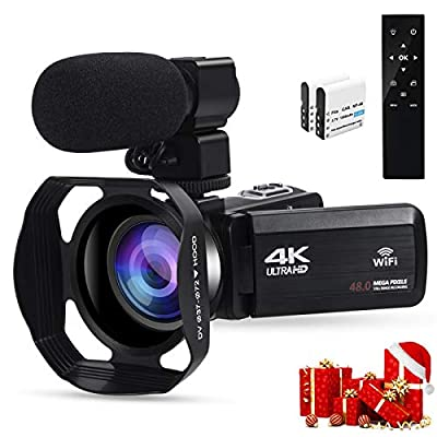 4k Camcorders Video Camera for YouTube, Ultra HD 4K 48MP Camera IPS Touch Screen IR Night Shot Digital Camera with Microphone, WiFi, 2.4 G Remote, Lens Hood, 2 Battery, Cattery Charger from VETEK