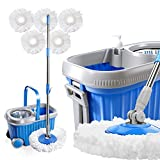 Masthome Spin Mop and Bucket System with Wheels & 5 Microfiber Mop Heads 8L Stainless Steel Mop Bucket with Detergent Dispenser