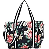 Travel Laptop Tote Bag with USB Charging Port Womens Business Messenger Handbags Computer Shoulder Bag Fits 17.3 Inch Black Rose