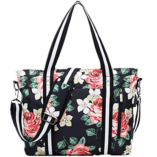 Travel Laptop Tote Bag with USB Charging Port Womens Business Messenger Handbags Computer Shoulder Bag Fits 17.3 Inch Black Rose