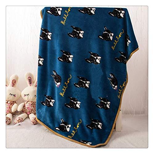 GUOXY Cama cálida de invierno para perros de forro polar suave para mascotas, colchón, cojín de bulldog francés, color azul oscuro