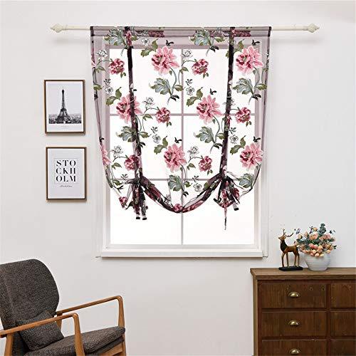 CULASIGN 1er-Pack Raffrollo Gardinen Pfingstrose Blume Transparent Vorhänge Vorhang für Balkon und Küche Wohnzimmer Schlafzimmer (Lila,117 * 160cm)