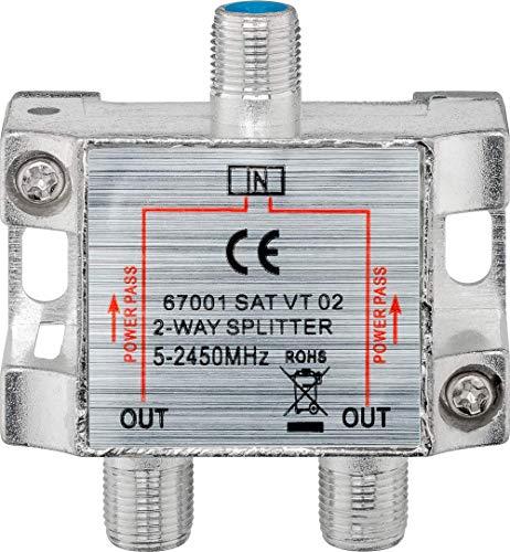 Wentronic 67001-GB - Atenuador de señal satélite (1 entrada y 2 salidas, 100 dB, 5-2450 MHz) (importado)