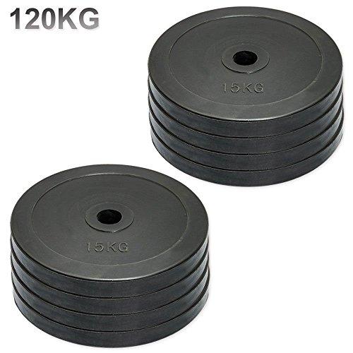 Discos de pesas olímpicos de MaxStrength de goma, para gimnasio o culturismo (5 cm, 15 kg) (personalizable), color negro, tamaño 15kg x 8 = 120