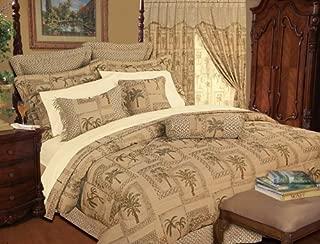 KingLinen 9 Piece Queen Tapestry Palm Bedding Comforter Set