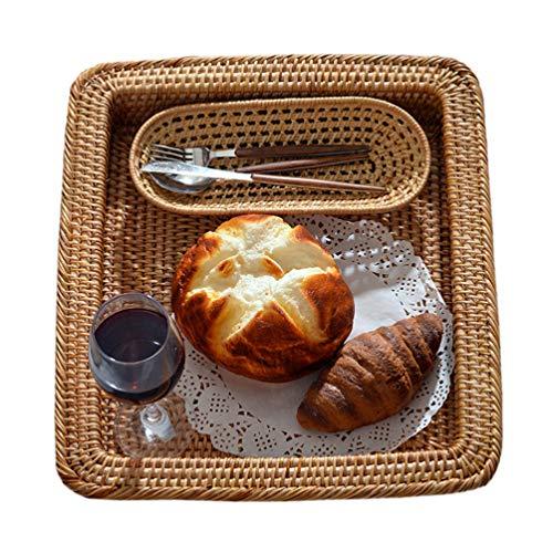 Cabilock Cesta de Mimbre Cuadrada Cestas de Almacenamiento Bandeja de Pan de Fruta Almacenamiento Recipiente de Comida de Fruta Bandeja de Servir Vintage