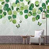 Mural de pared 3D hojas de mariposa verde papel tapiz sala de estar dormitorio Oficina pasillo carte Pared Pintado Papel tapiz 3D Decoración dormitorio Fotomural sala sofá pared mural-300cm×210cm