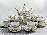 [page_title]-Xiongji 15-TLG Porzellan Teeservice Kaffeeservice Goldserie