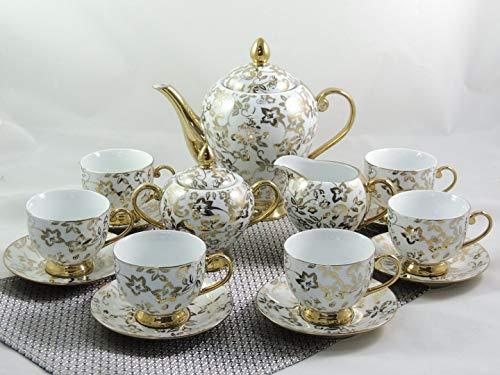Xiongji 15-TLG Porzellan Teeservice Kaffeeservice Goldserie