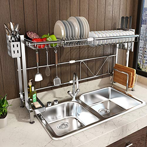 Dish Drying Rack Over Sink, Drainer Shelf for Kitchen Supplies Storage Counter Organizer Utensils Holder Hooks Stainless Steel Display- Kitchen Space Save Must Have