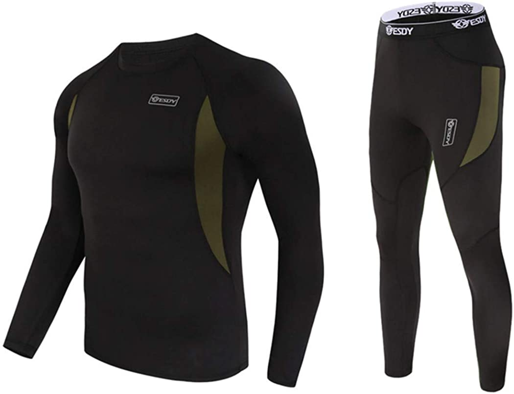 Winter Mens Thermal Underwear Suit,Fleece Warm Breathable Sport Underwear Suits,Army High Elastic Quick Drying Set