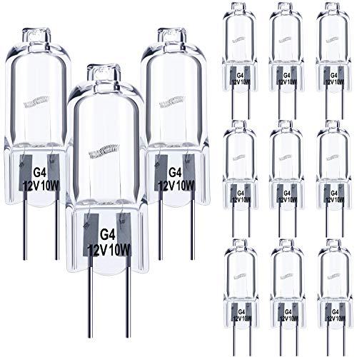 12 Stück G4 Halogen Glühbirnen Klar Kapsel 12 V Ersatz für Herdbeleuchtung, Signalleuchten, Energieklasse C (10 Watt)