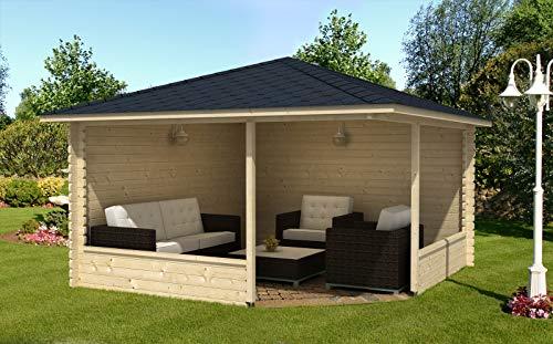 Alpholz 5-Eck Gartenlaube Maik-40 aus Massiv-Holz | Gartenhaus mit 40 mm Wandstärke | Gerätehaus inklusive Montagematerial | Geräteschuppen Größe: 400 x 400 cm | Spitzdach