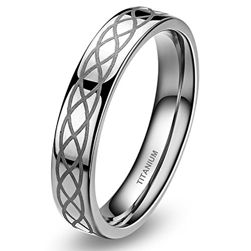 SOMEN TUNGSTEN 4mm Titanium Wedding Band Ring Celtic Knot Engagement Ring Comfort Fit Size 6.5