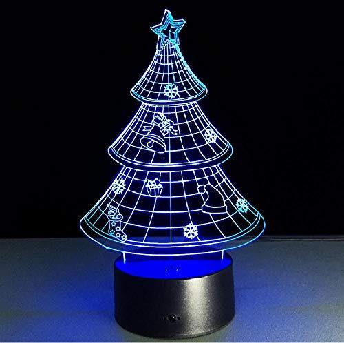 Árbol de Navidad 3D Lámpara LED Bombilla USB Iluminación Táctil RGB Colores Mesa Luz de Noche Decoración de la Mesita de Noche Regalo Visión Vacaciones Niños