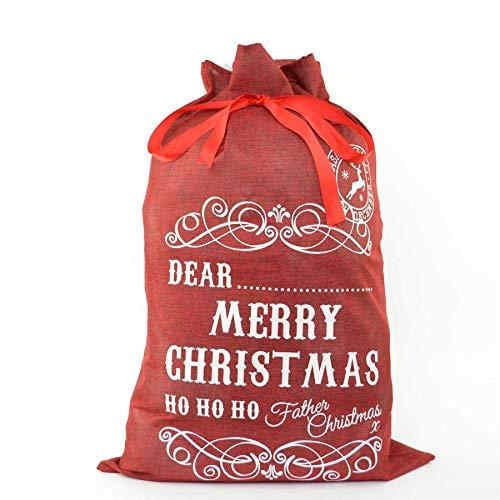 SHATCHI - Saco de Navidad (70 x 50 cm), diseño de arpillera, color rojo , color/modelo surtido