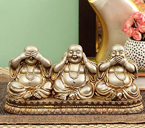 Tied Ribbons Laughing Buddha Statue Figurine Sculpture for Table Living Room and Garden Decoration - Polyresin Handmade
