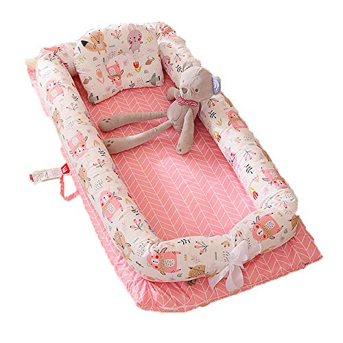 YYhkeby Cuna plegable portátil, cama recién nacido, colchón nido lavable con almohada, rosa, azul Jialele (color: rosa)