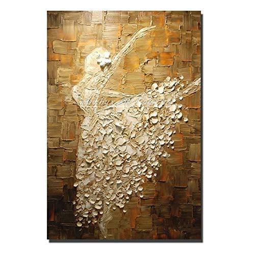 KKCV Cuadro en acrílico Pinturas pintadas a Mano Cuchillo Bailarina de Ballet Pintura al óleo Lienzo Abstracto Cuadros artísticos de Pared para Sala de Estar decoración del hogar