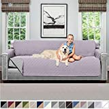 Sofa Shield Original Patent Pending Reversible X-Large Oversized Sofa Protector for Seat Width to 78 Inch, Furniture Slipcover, 2 Inch Strap, Couch Slip Cover Throw for Pet Dogs, Sofa, Purple Lt Gray