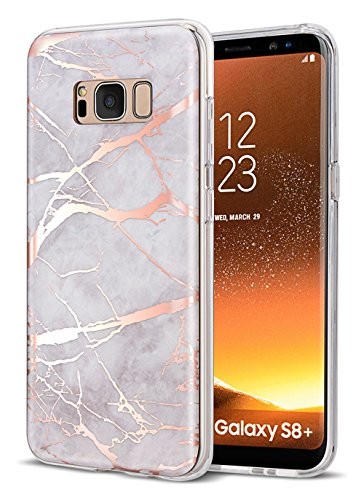 WORLDMOM for Galaxy S8 Plus Case, Slim White and Rose Gold Lightning Lines Marble Shock Absorption Technology Bumper Soft TPU Cover Case for Samsung Galaxy S8 Plus, Marble
