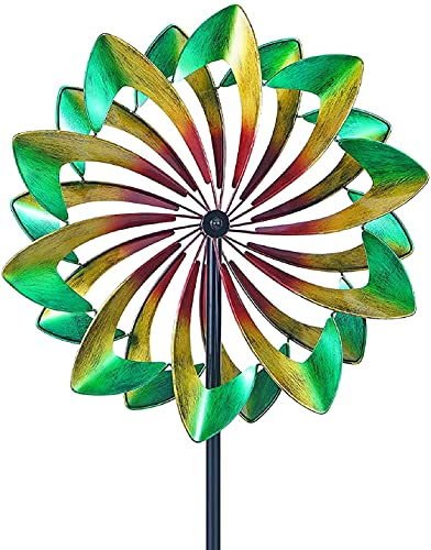 LIOYUHGTFY Unique and Magical Metal Windmill Solar Wind Spinner Iron Windmill Kinetic Wind Spinners Kinetic Yard Art Decorations 915