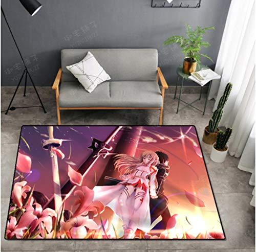 Teppich Lange Anime Bodenmatte Messer Schwert Gott Domäne Teppich Anime Anime Wohnzimmer Umgeben Couchtisch Schlafzimmer Computer Stuhl Kristall Samt In Die Bodenmatte 100 * 200Cm