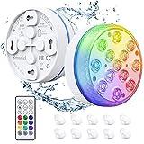 Smarich Unterwasser LED Licht, Poolbeleuchtung mit RF-Fernbedienung, IP68 Wasserdichtes Pool Beleuchtungen mit 13 LED, Pool Licht mit 4 Magnet, 4 Saugnäpfen, für Teich Vase Halloween Party(2 Stück)